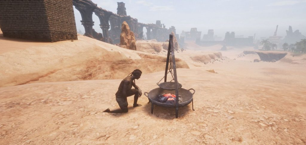 Conan Exiles Dharfari Alchemist am Feuerschalen-Kessel 2