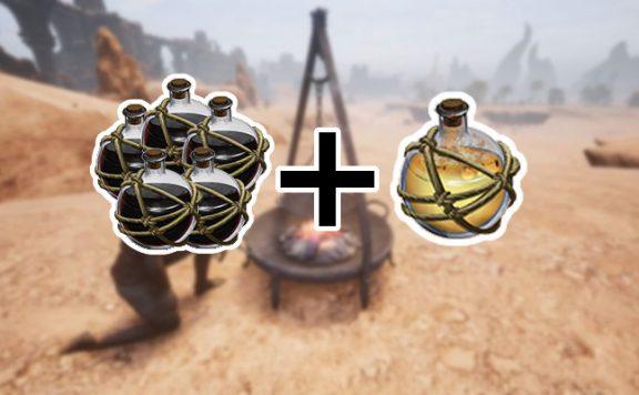 Conan Exiles Dharfari Alchemist am Feuerschalen-Kessel Teerkugeln und Dämonenfeuer Kugeln Titel