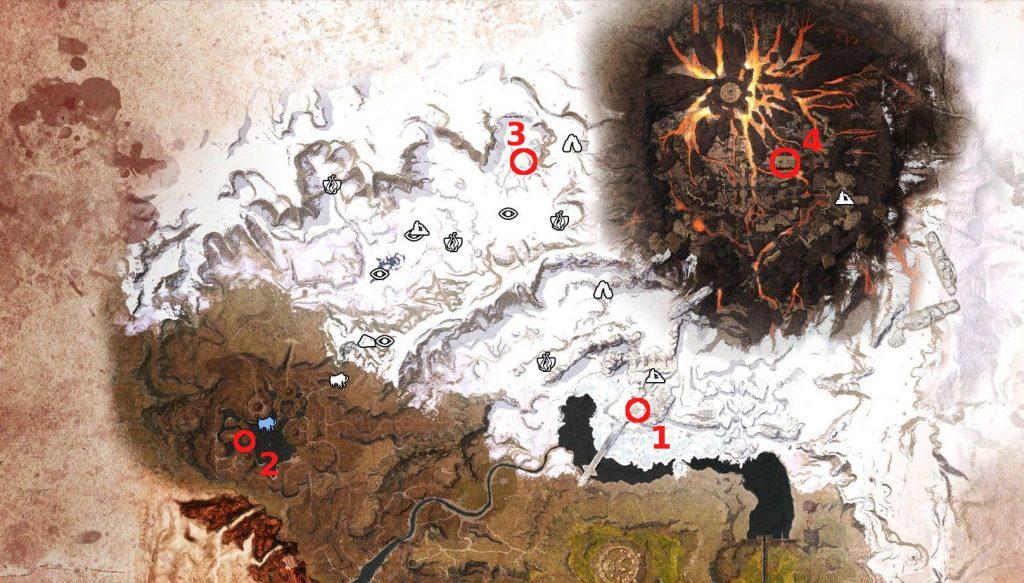 Conan Exiles Karte vom Norden mit Obelisken