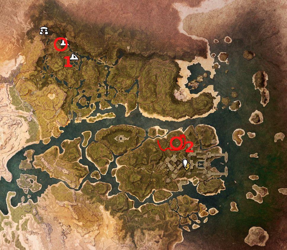 Conan Exiles Karte vom Sumpf mit Obelisken