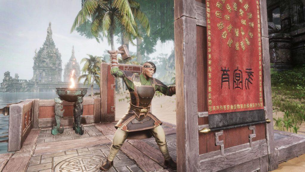 Conan-Exiles-Khitan-DLC-Bauarbeiter-mit-Gebäuden