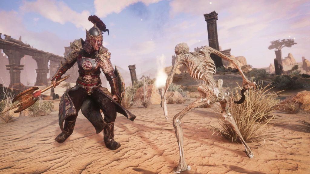 Conan Exiles Khitan DLC Krieger mit Skelett