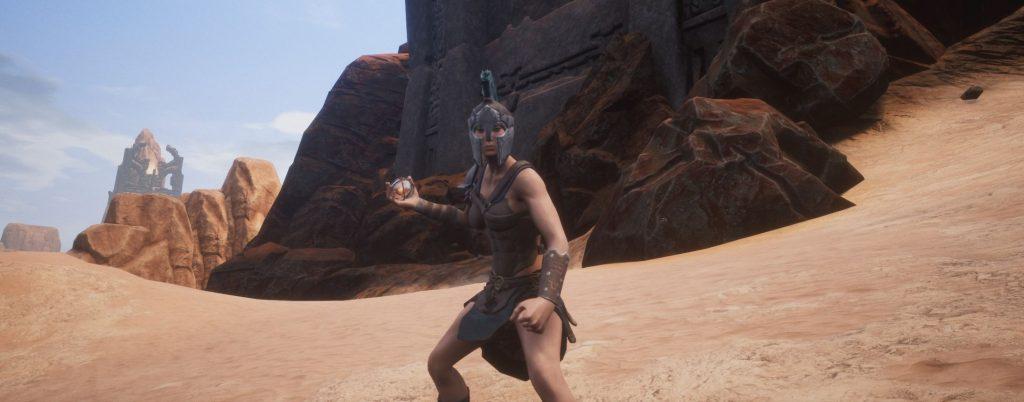 Conan Exiles Kriegerin mit Dämonenfeuerkugel