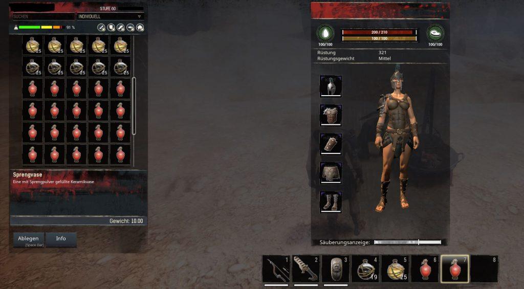 Conan Exiles Sprengvasen Teerkugeln Dämonenfeuerkugeln im Inventar