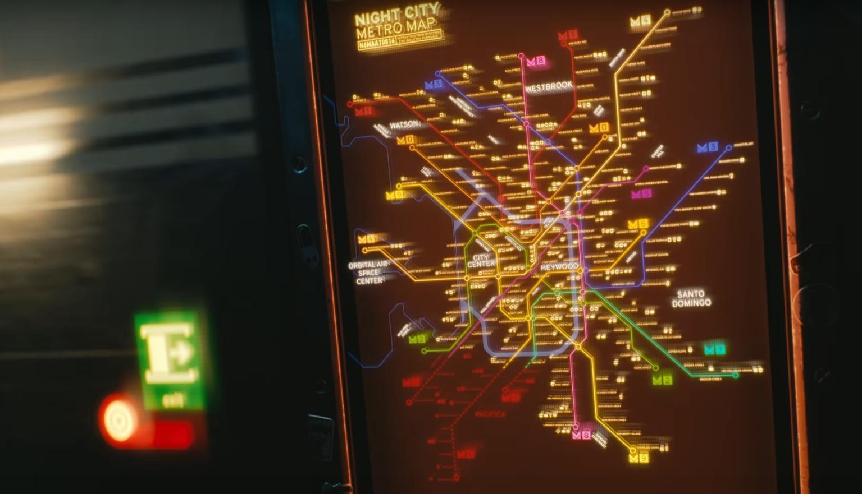 Cyberpunk 2077 Night City Metro Map