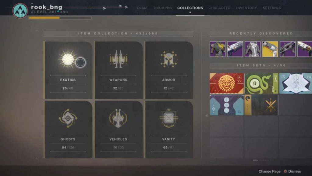 Destiny 2 Forsaken Collections