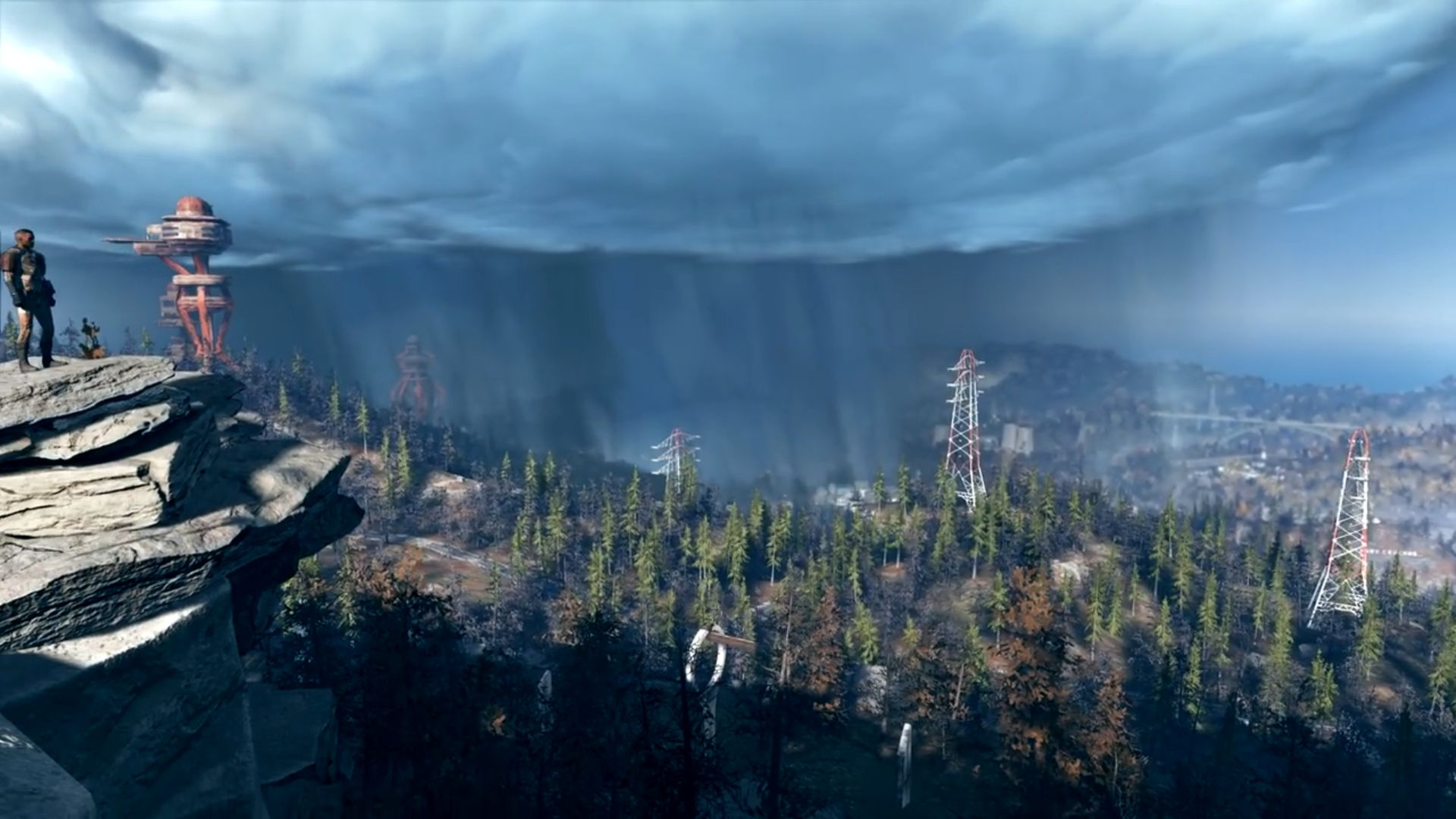 Fallout 76 Gameplay Trailer Screenshot Landschaft mit Strommasten