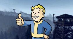 Fallout 76 Landschaft 3 mit Turm und Vault Boy