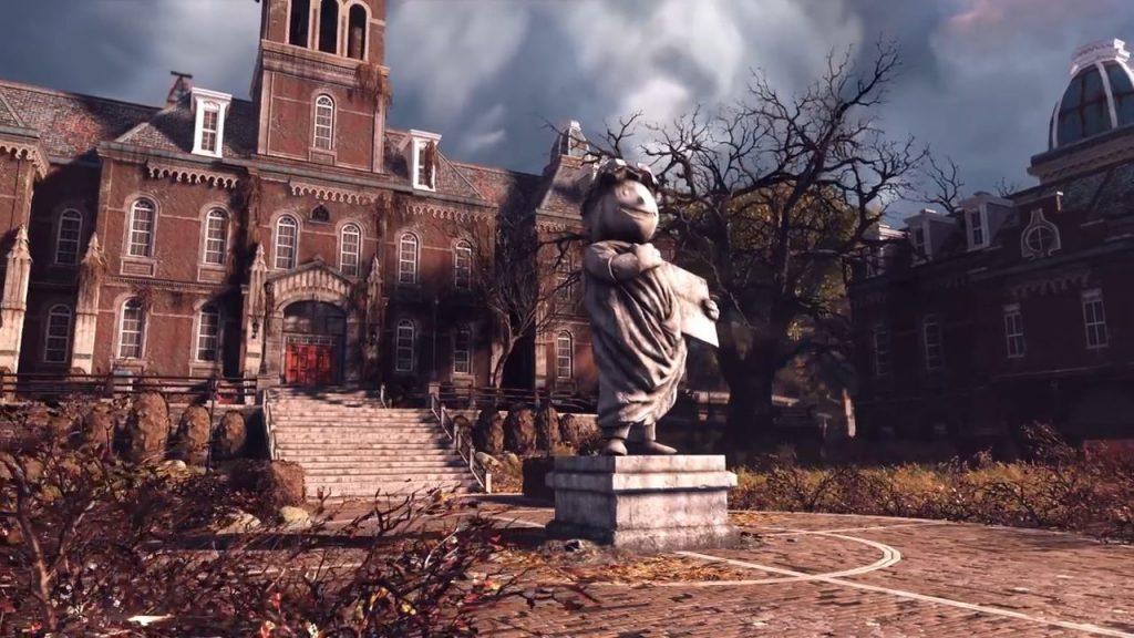 Fallout 76 Schule mit Statue