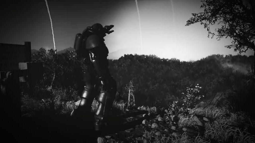 Fallout 76 Schwarz Weiß Raketenregen Explosion