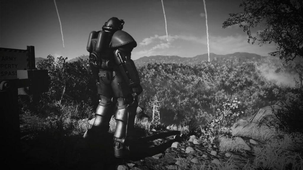 Fallout 76 Schwarz Weiß Raketenregen PowerArmor