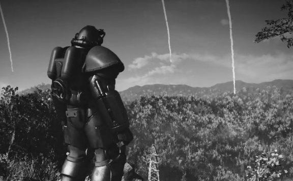 Fallout 76 Schwarz Weiß Raketenregen PowerArmor Titel