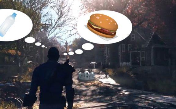 Fallout 76 Wanderer Titel 2 mit Burger und Wasser