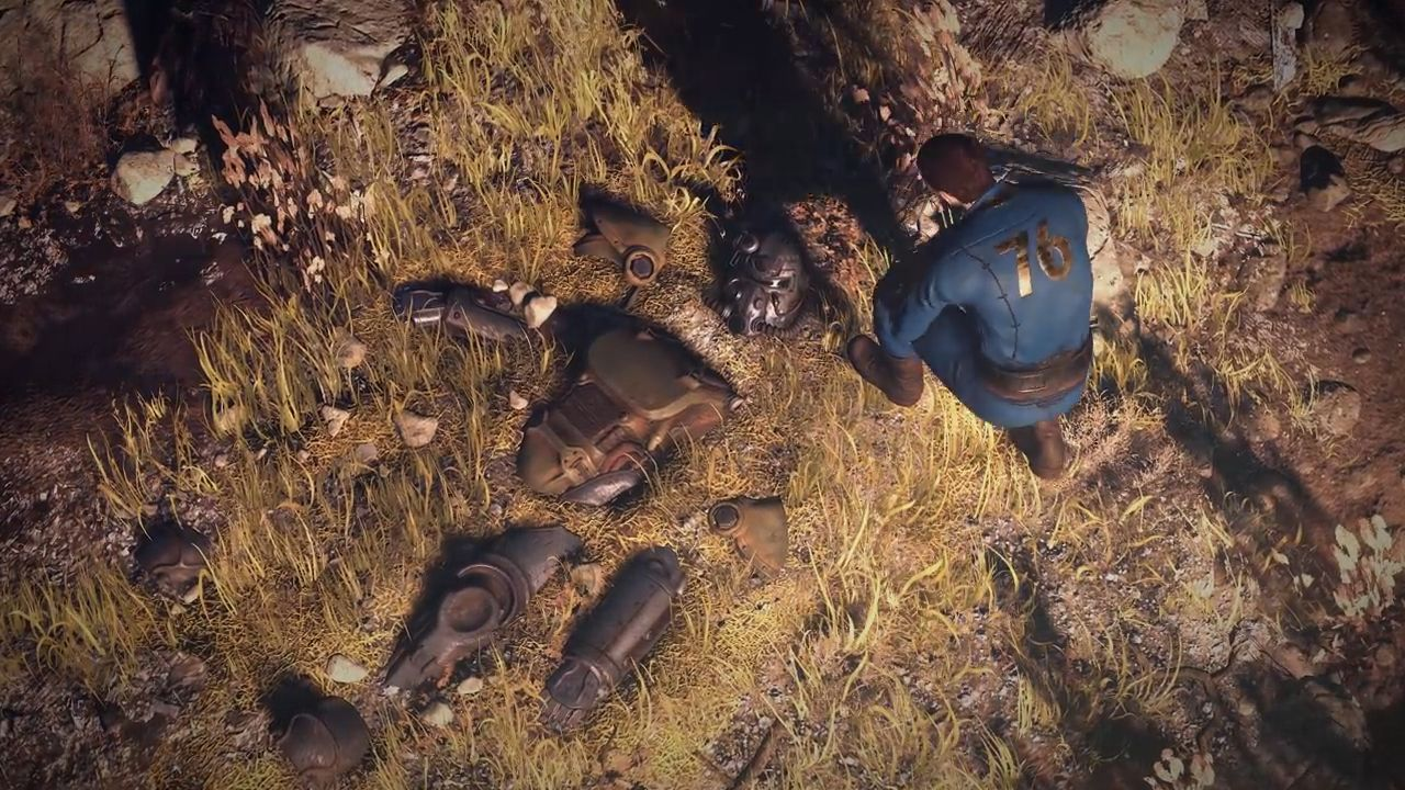 Fallout 76 zerstörte Powerarmor mit Mensch 3