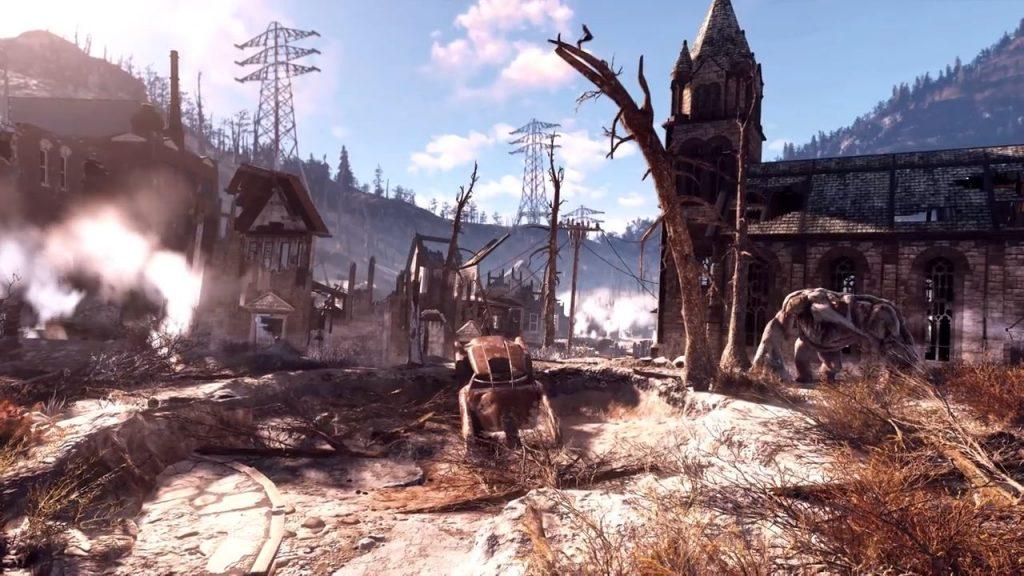Fallout 76 zerstörte Stadt mit Monster