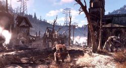 Fallout 76 zerstörte Stadt mit Monster Titel