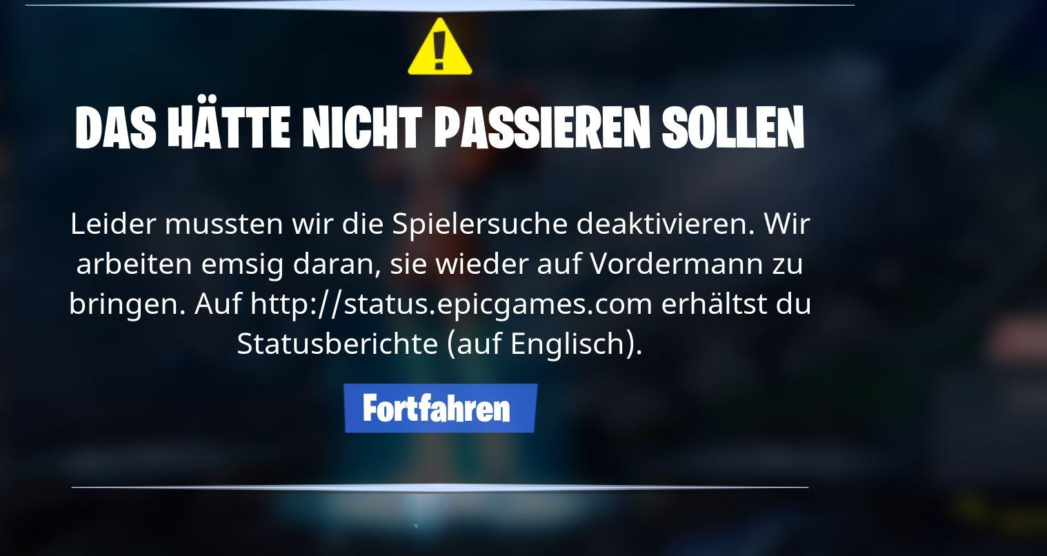 Fortnite-Fehlermeldung