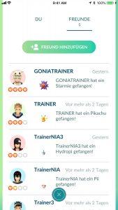 Pokémon GO Freunde übersicht