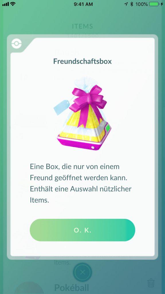 Pokémon GO Geschenk Übersicht