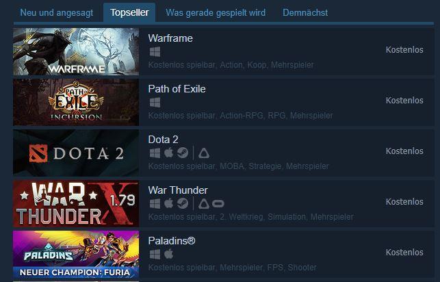 Topseller-Steam-Kostenlos