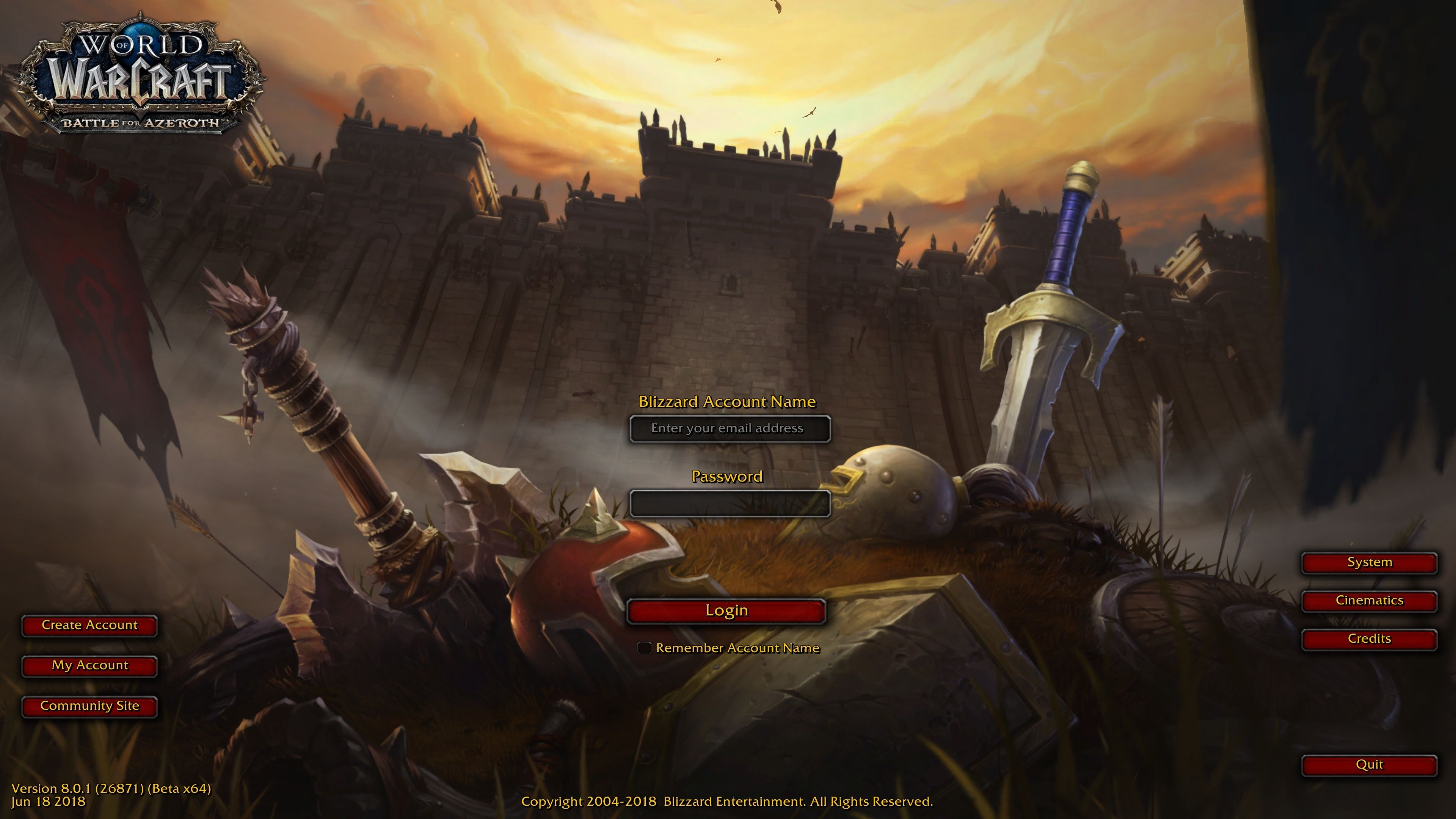 WoW Battle for Azeroth Login Screen Big