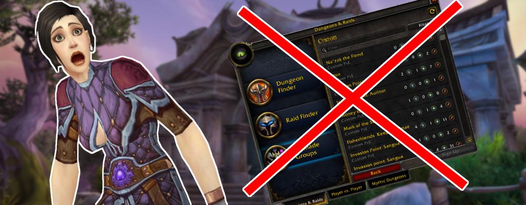 WoW Groupfinder title no more