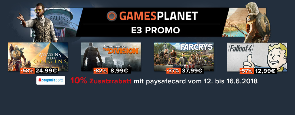 Gamesplanet E3 2018-Sale: Bis zu 80% Rabatt auf PC-Spiele