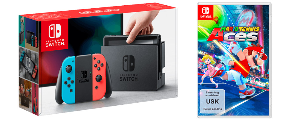 Saturn-Prospekt: Nintendo Switch Bundle mit Mario Tennis Aces für 339 Euro