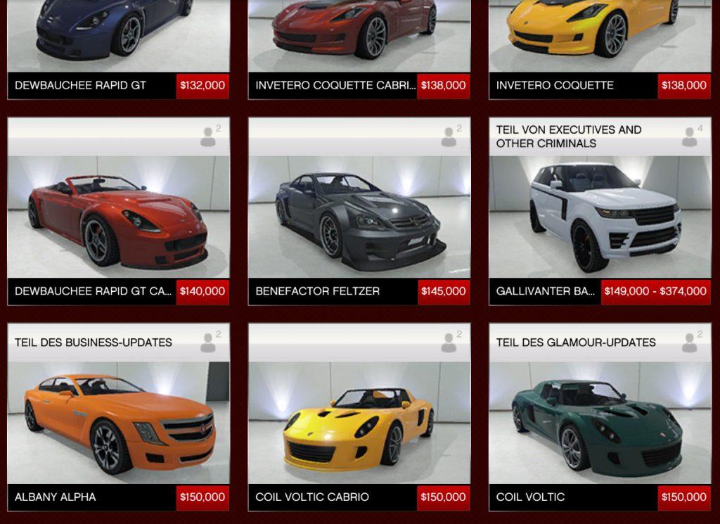 GTA 5 Online Autos bis 150000