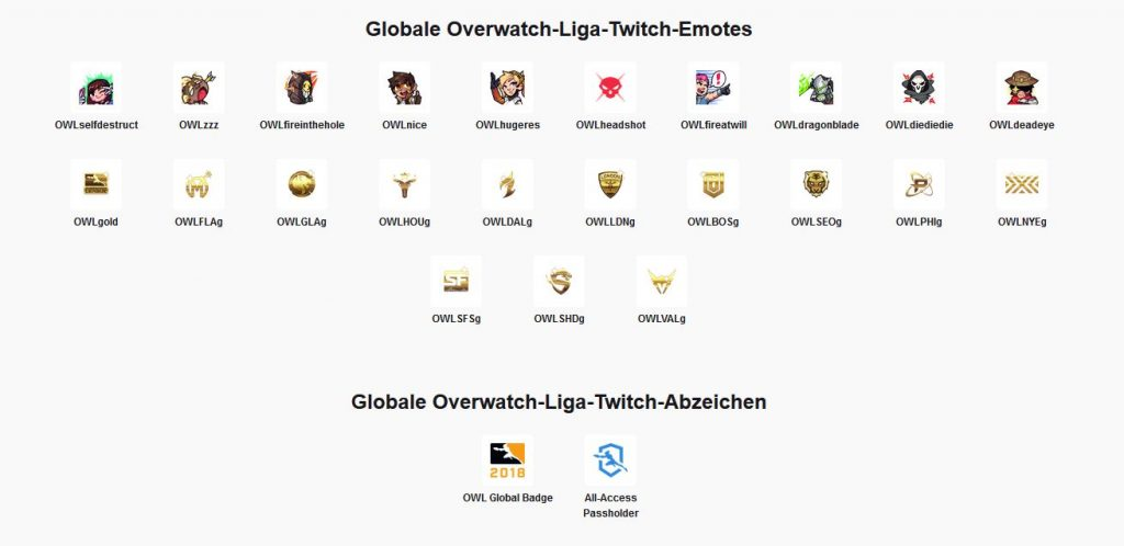 Overwatch LEague Twitch Chat All Access Pass Emotes und Chat Badges