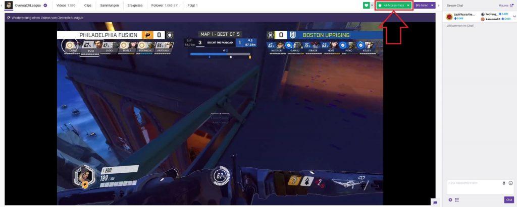 Overwatch League Twitch Screenshot Boston gegen Philly All Access Pass