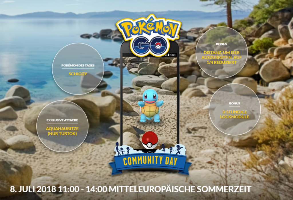 Pokémon GO Comm Day mit schiggy