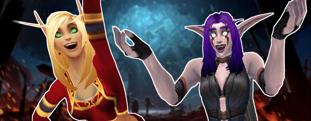 WoW Battle for Azeroth Night Elf Blood Elf happy title