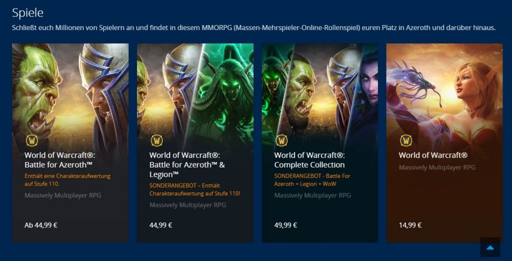 WoW Battle for Azeroth angebote im blizzard shop