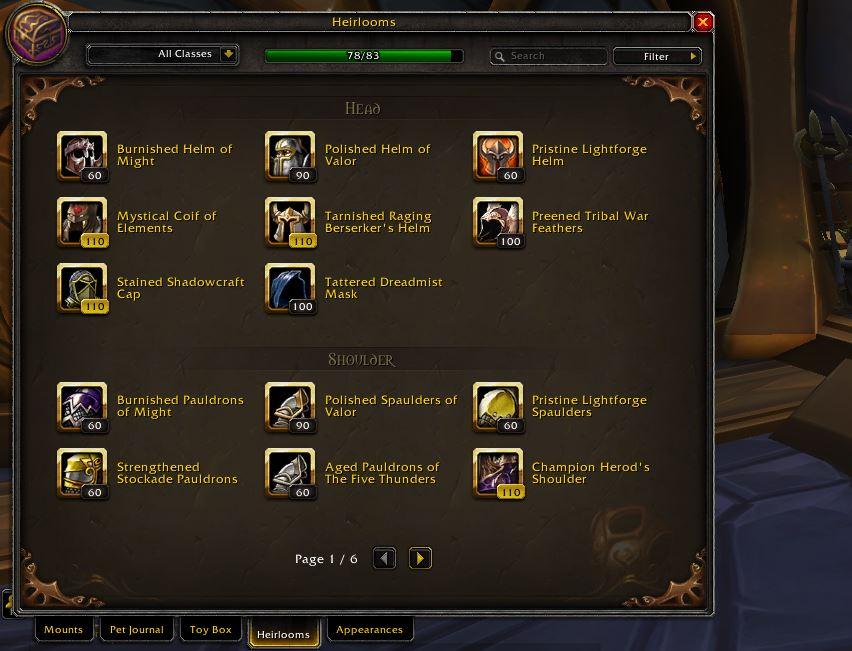 WoW Erbstücke in Sammlung Screenshot