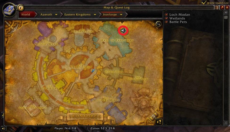 WoW Screenshot Krom Starkarm Standort auf Karte