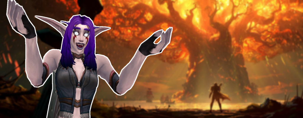WoW Teldrassil Burning Nightelf Cheer title