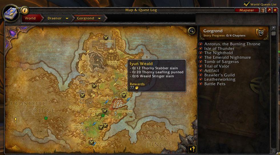 WoW level guide karte von draenor mit bonus aufträgen