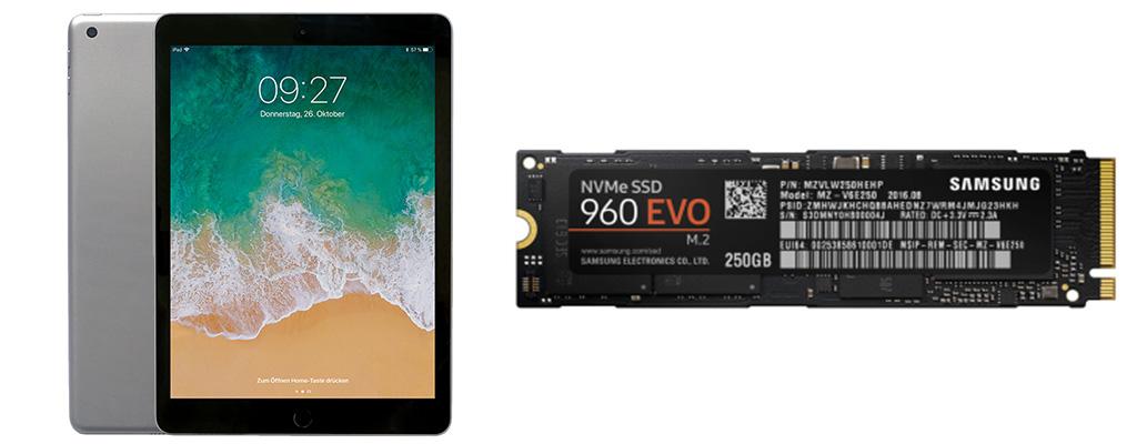 Apple iPad 2018 zum Bestpreis – Samsung 960 EVO M.2 SSD für 77 Euro