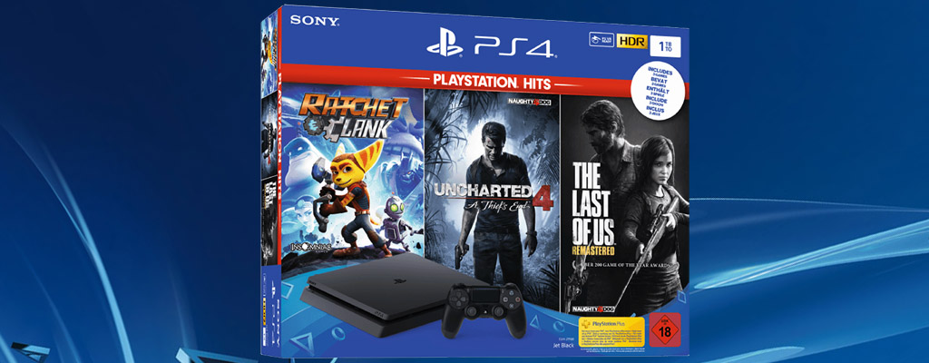 PS4 Slim-Bundle mit The Last of Us, Uncharted und Ratchet & Clank