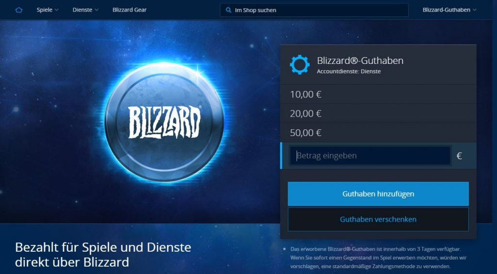 wow battle net launcher blizazrd shop blizzard guthaben
