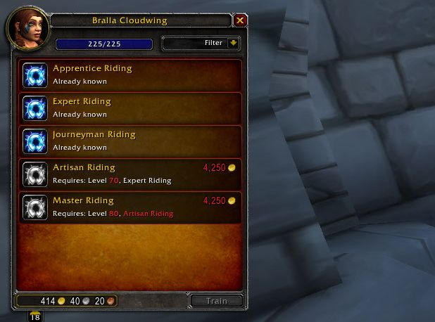 wow level guide reiten lernen