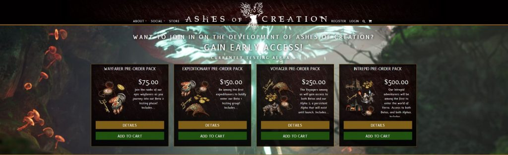 Ashes of Creation Shop Seite