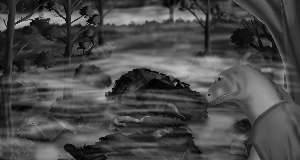 Codename Reality Artwork Echsenwesen im Sumpf zerstörtes Dorf