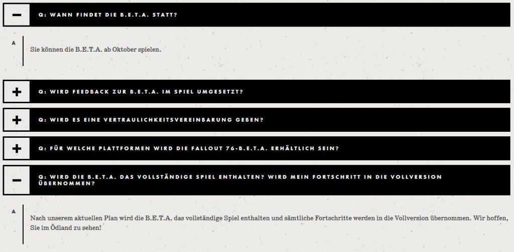Fallout 76 BETA Start und neue Info