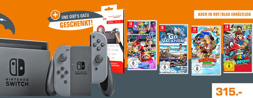 Nintendo Switch im Bundle mit einem Spiel und einer Schutzfolie für 315 Euro