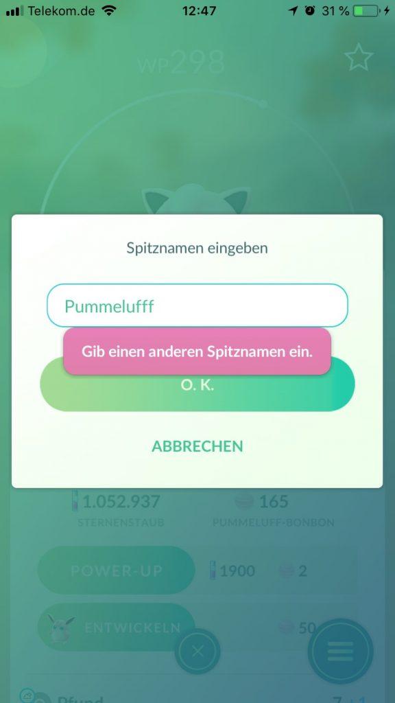 Pokémon GO Spitzname