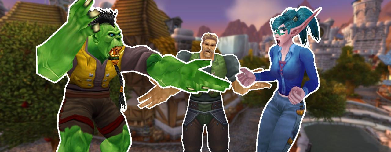 WoW Hintergtund Stormwind Titel mit Metzen Elf und Orc am streiten