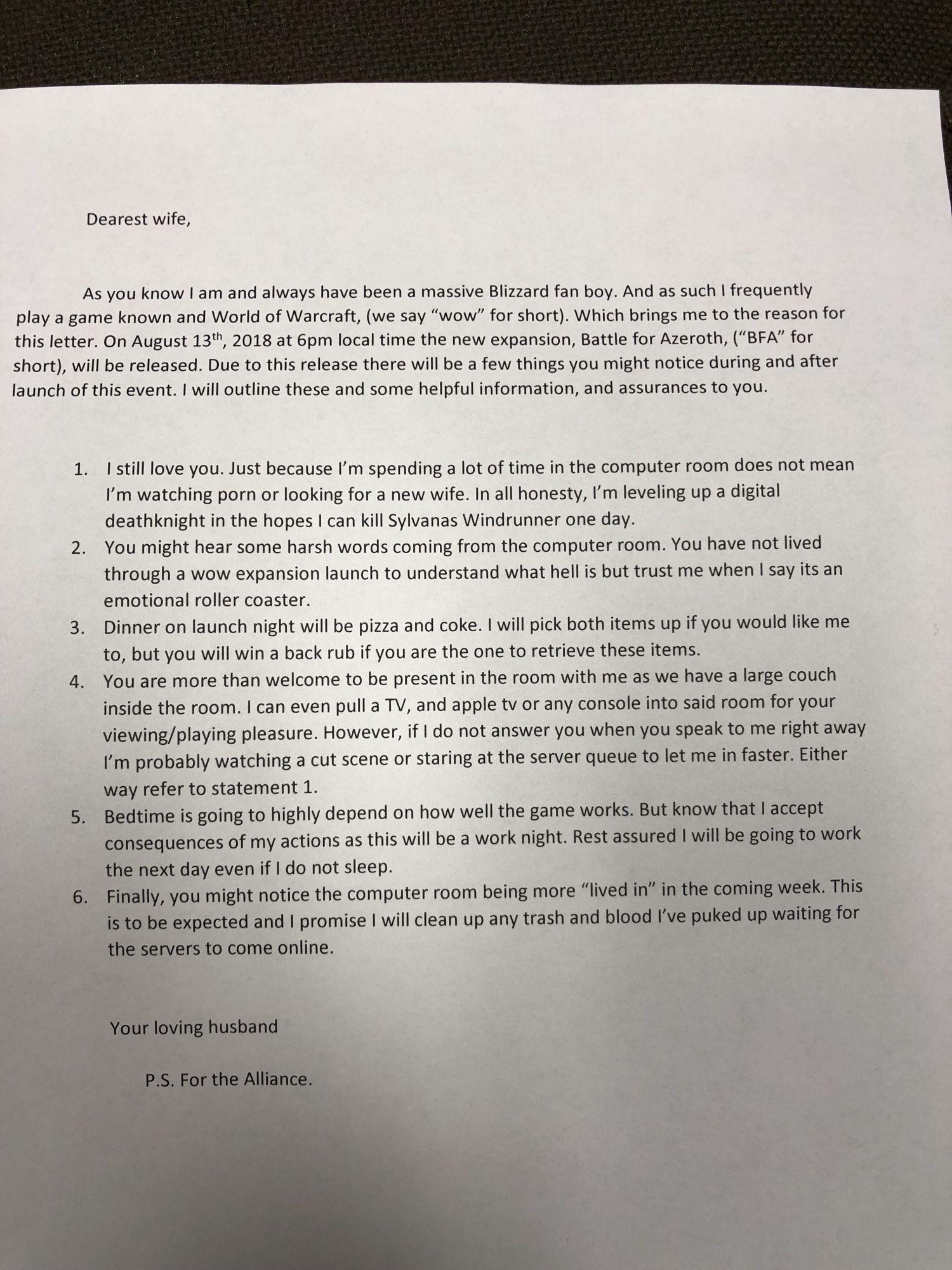 WoW Reddit Brief an die Frau
