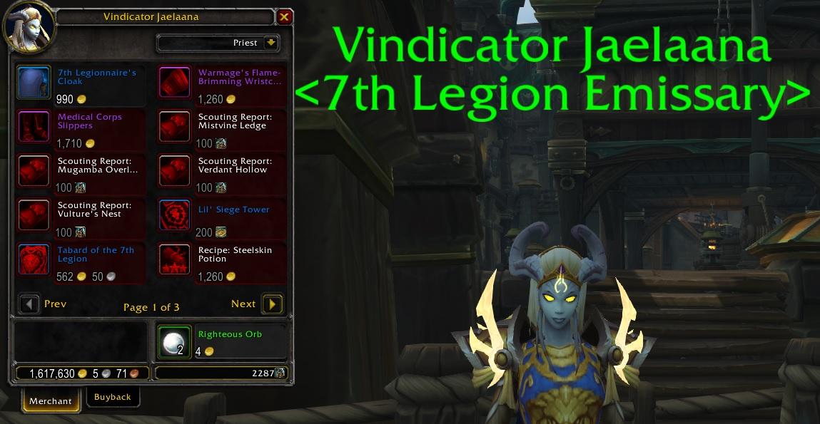WoW Reputation Trader 7th legion
